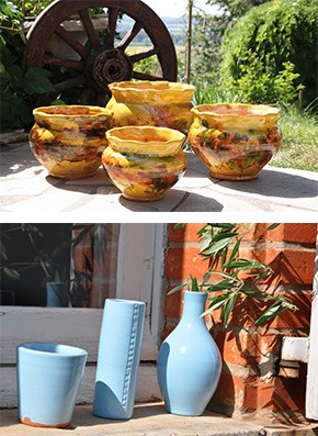 Pots Dentelés Jaspé et pots bleus de cocagne, les poteries d'Albi