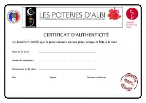 Le certificat d'authenticité des poteries d'Albi
