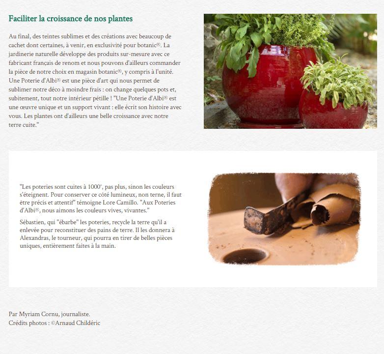 Les jardinerie de Botanic parlent de l'Art de Vivre à la Française des poteries d'Albi