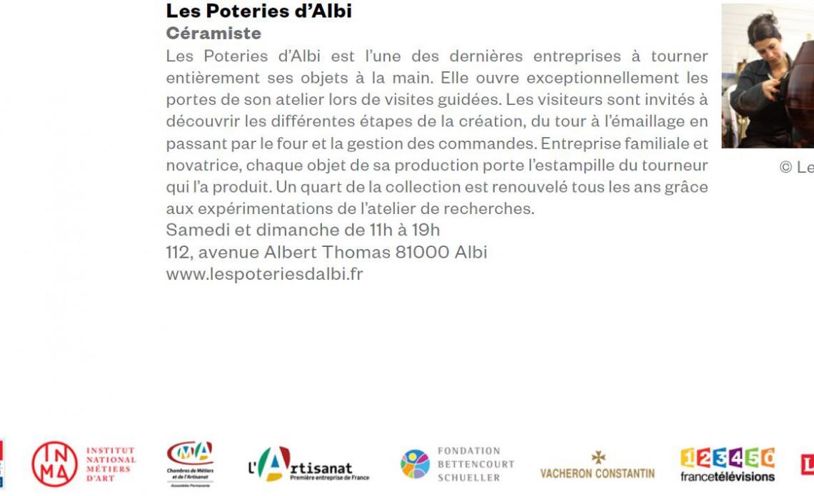 Les Poteries d'Albi ouvrent les portes pour les Journées Européennes des Métiers d'Art 2016