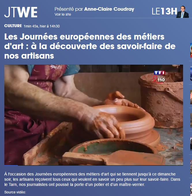 TF1 JT Anne Claire Coudray parle des Poteries d'Albi 03 avril 2016