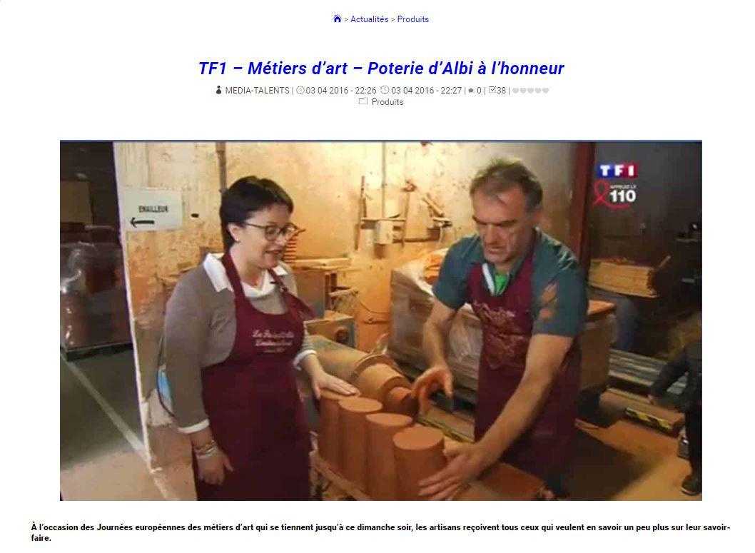 TF1 chez Poterie d'Albi