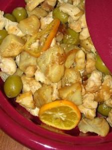Tajine de poulet aux fonds d'artichaut