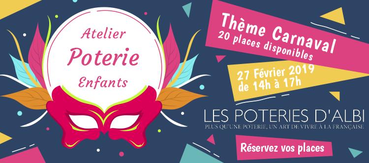 Atelier Poterie pour les enfants thème Carnaval 2019